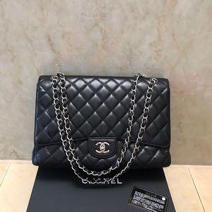 Chanel caviar single flap maxi handbag